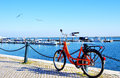 Bike Parked Along The Port Of Algarve Royalty Free Stock Photos - 40649578