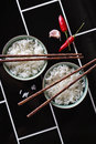 Creative Styling Of Asian Food On Diagonal Background Stock Photography - 40657102