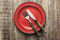 Empty Red Plate On Wooden Table Royalty Free Stock Photography - 40662597