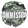 Commission Word Hundred Dollar Bill Ball Sphere Stock Photo - 40684000