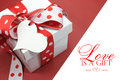 Red And White Polka Dot Theme Gift Box Present With Heart Shape Gift Tag, With Love, Royalty Free Stock Image - 40684866