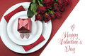 Happy Valentines Day Dining Table Setting, With Red Hearts, Gift, And Red Roses Stock Photo - 40688980
