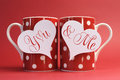 You And Me, Love Message Greeting On Heart Gift Tags On Red Polka Dot Coffee Mugs Royalty Free Stock Images - 40699359