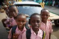 ACCRA, GHANA � MARCH 18: Unidentified African Student Boys Greet Stock Photos - 40702003