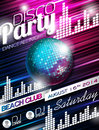 Vector Disco Party Flyer Design With Disco Ball On Shiny Background Royalty Free Stock Images - 40707669