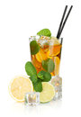 Glass Of Ice Tea With Lemon, Lime And Mint Royalty Free Stock Photo - 40715795
