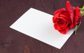 Red Rose And Blank Gift Card For Text On Old Wood Background Stock Image - 40719331