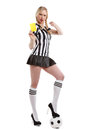 Beautiful Woman In Soccer Referee Clothes Royalty Free Stock Photos - 40722848
