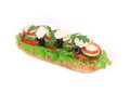 Sandwich With Cheese, Cucumber, Radish And Tomato. Royalty Free Stock Photos - 40724938