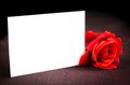 Red Rose And Blank Gift Card For Text On Old Wood Background Stock Photo - 40725460