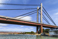 Belgrade S New Railway Suspension Bridge On Sava River - Serbia Stock Image - 40728011