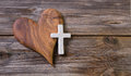 Wooden Background With Olive Heart And White Cross For An Obitua Royalty Free Stock Images - 40741309