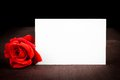 Red Rose And Blank Gift Card For Text On Old Wood Background Royalty Free Stock Photography - 40748607