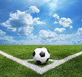 Football And Soccer Field Grass Stadium Blue Sky Background Royalty Free Stock Photos - 40764618
