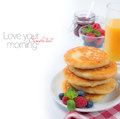 Fresh Breakfast With Russian Cottage Cheese Pancakes Royalty Free Stock Image - 40779046
