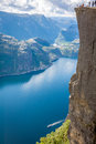 Preikestolen,Pulpit Rock At Lysefjorden (Norway). A Well Known T Royalty Free Stock Images - 40784449