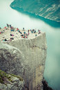 Preikestolen,Pulpit Rock At Lysefjorden (Norway). A Well Known T Royalty Free Stock Photo - 40784645