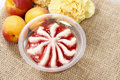 Peach Pudding With Strawberry Sauce Stock Photography - 40790492