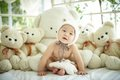 Baby With A Group Of Plush Bear Royalty Free Stock Photography - 40794907