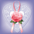 Vintage Lace Heart And Rose Royalty Free Stock Photography - 4089497