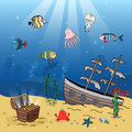 Underwater Scene Of A Sunken Ship And Treasure Royalty Free Stock Images - 40801569