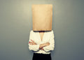 Woman Hiding Under Empty Paper Bag Stock Photography - 40839352