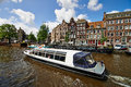 Tour Boat On Amsterdam Canal Stock Photos - 40839923