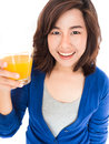 Isolated Portrait Of Young Happy Woman Drinking Orange Juice Smi Royalty Free Stock Photo - 40847915
