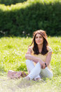 Portrait Of Young Beautiful Woman In Summer City Park. Stock Photos - 40860433