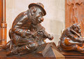 Bratislava - Monkey With The Violin Sculpture From Bench In Presbytery In St. Matins Cathedral Stock Photos - 40869733