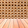 Decorative Wall Of Pottery Pots With Plank Wood Floor Royalty Free Stock Photos - 40879308