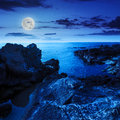 Calm Sea Wave Touches Boulders At Night Royalty Free Stock Photo - 40879985