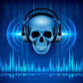 Skull In Headphones. Disco Background Royalty Free Stock Image - 40880136