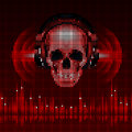 Skull In Headphones. Disco Background Stock Images - 40881044