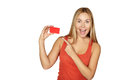 Showing Woman Presenting Blank Card Sign. Royalty Free Stock Photos - 40887588
