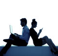 Young Couple Addicted To The Internet Royalty Free Stock Photography - 40909707