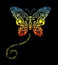 Flying Butterfly Floral Ornament Decoration Royalty Free Stock Photography - 40913037