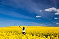 Happy Young Woman On Spring Field, Ecology Royalty Free Stock Photo - 40919715