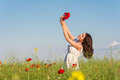 Summer Girl In Poppy Field Holding A Poppies Bouquet Royalty Free Stock Images - 40924519