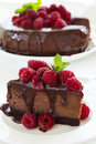 Chocolate Cheesecake With Raspberries Royalty Free Stock Images - 40924699