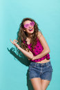 Smiling Girl In Heart Shaped Glasses Royalty Free Stock Image - 40938896