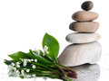 Composition Of Stacked Pebbles With A Bouquet Of Lilies Stock Photo - 40955540
