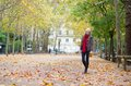 Beautiful Young Girl Walking On A Fall Day Stock Image - 40956501