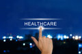 Hand Pushing Healthcare Button On Touch Screen Stock Photo - 40962510