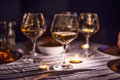 Evening Candle Light Dinner With Wine Royalty Free Stock Photo - 40964575