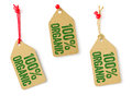 Tags With The Text 100 Organic Stock Photos - 40970513