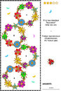 Visual Puzzle With Bugs And Flowers Royalty Free Stock Image - 40971226