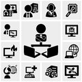 Support, Working On Computer Icons Set On Gray Stock Photo - 40973050