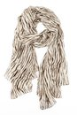 A Scarf Is Silk Beige With Strakes Strung On A Knot Stock Photo - 41001230