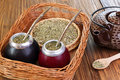 Yerba Mate And Mate In Calabash On A Wicker Tray Royalty Free Stock Images - 41004199
